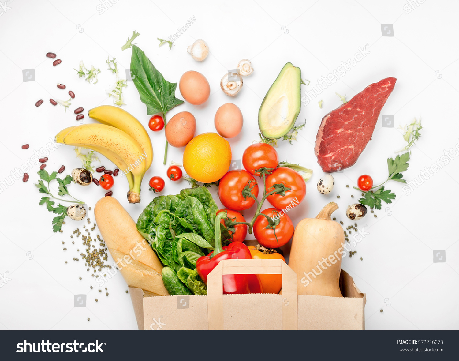 Full paper bag different health food stock photo 572226073 for Produit cuisine