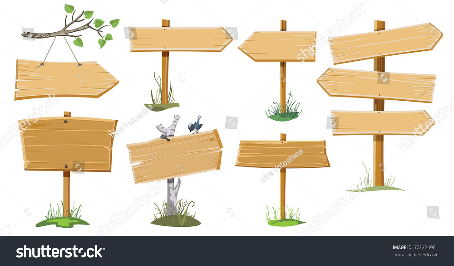 A set of several wooden street signs #572226961