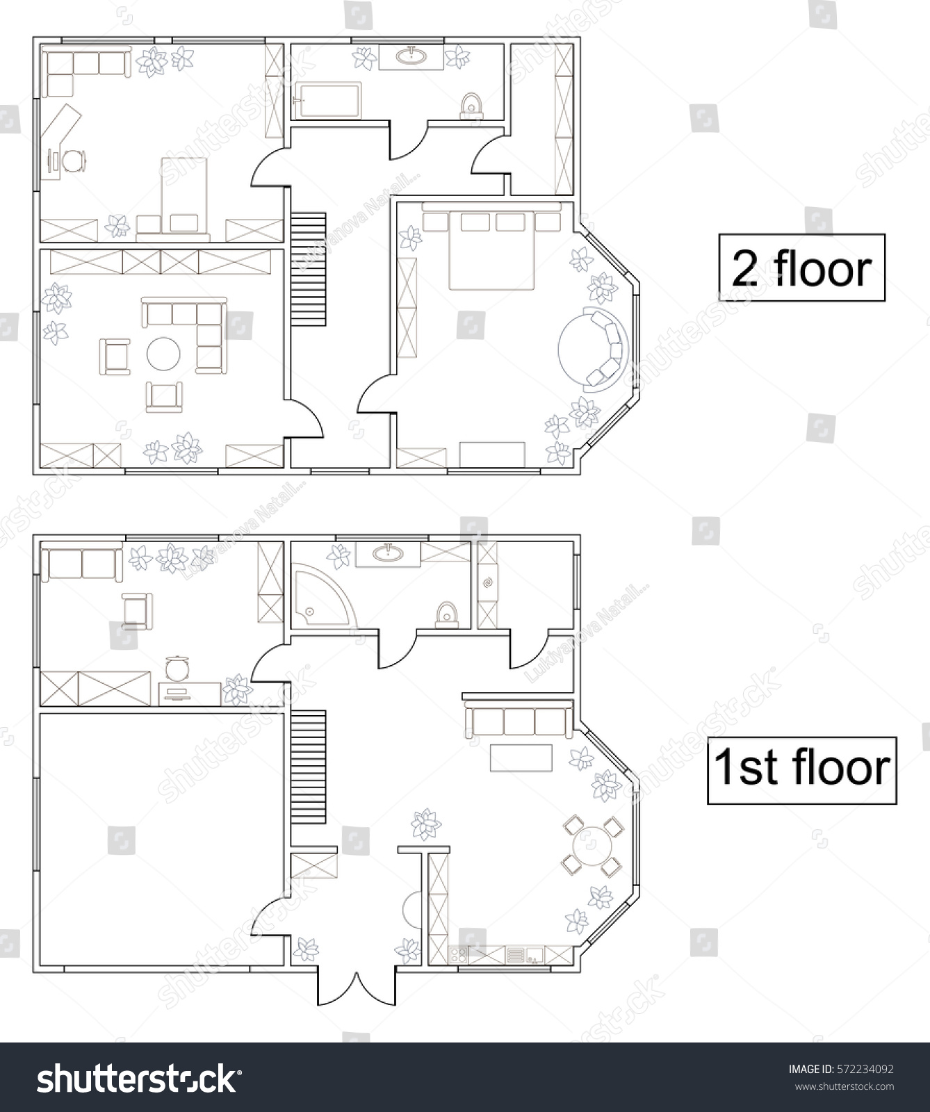 abstract vector plan first second floor stock vector 572234092 abstract vector plan of first and second floor of a two storey house with