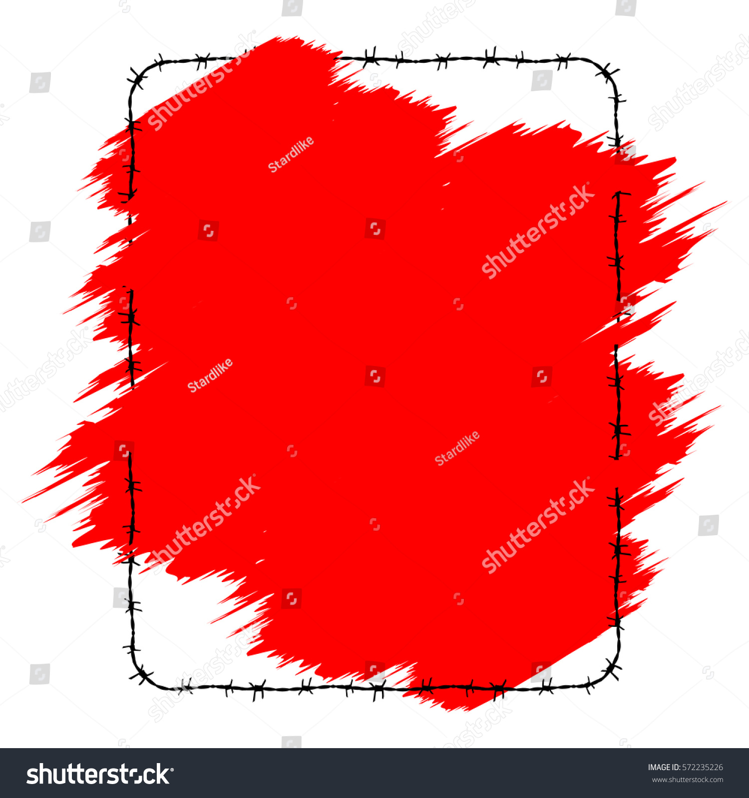 Barbed wire vector brush - Frame Barbed Wire Red Brush Stroke Element Vector