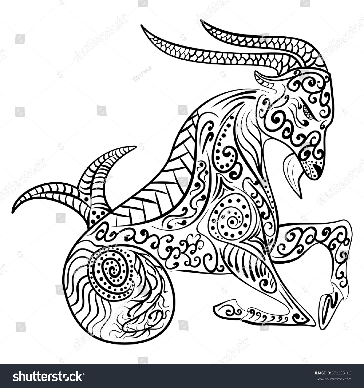 Zen tangle handdrawn zodiac capricorn ethnic stock vector for Capricorn coloring pages