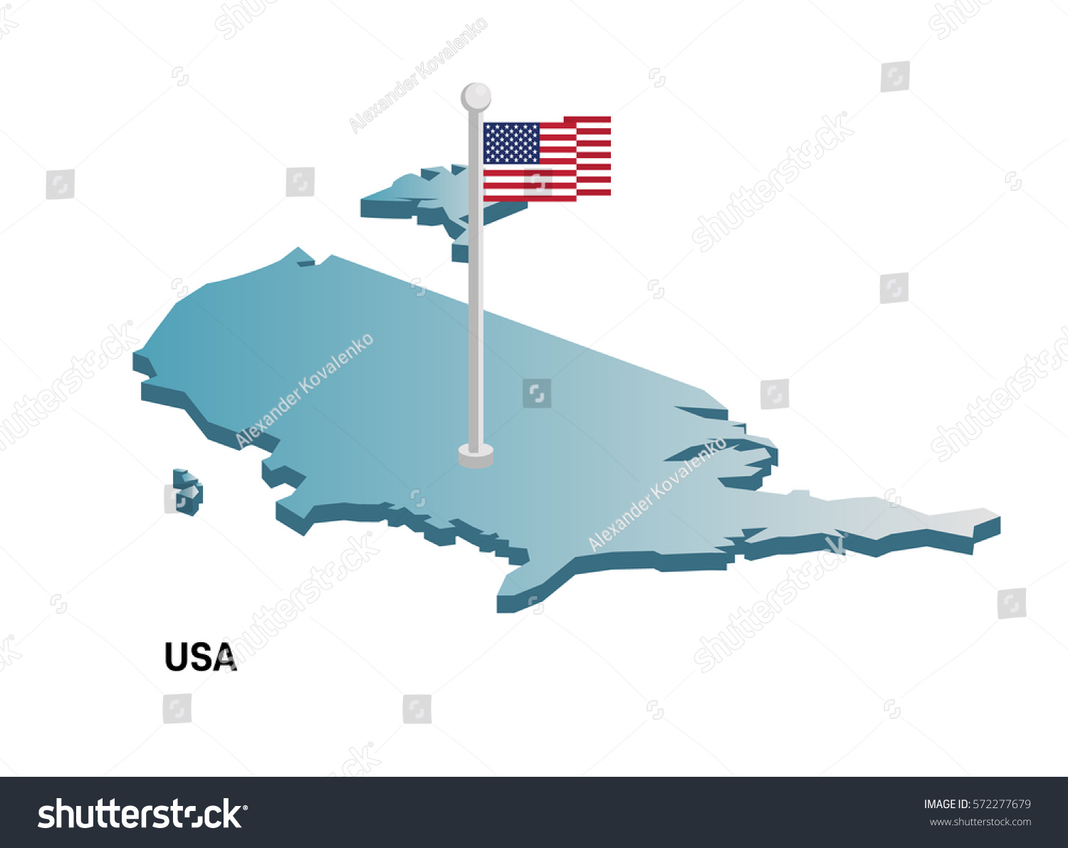United States D Map American Flag Stock Vector - 3d map usa states