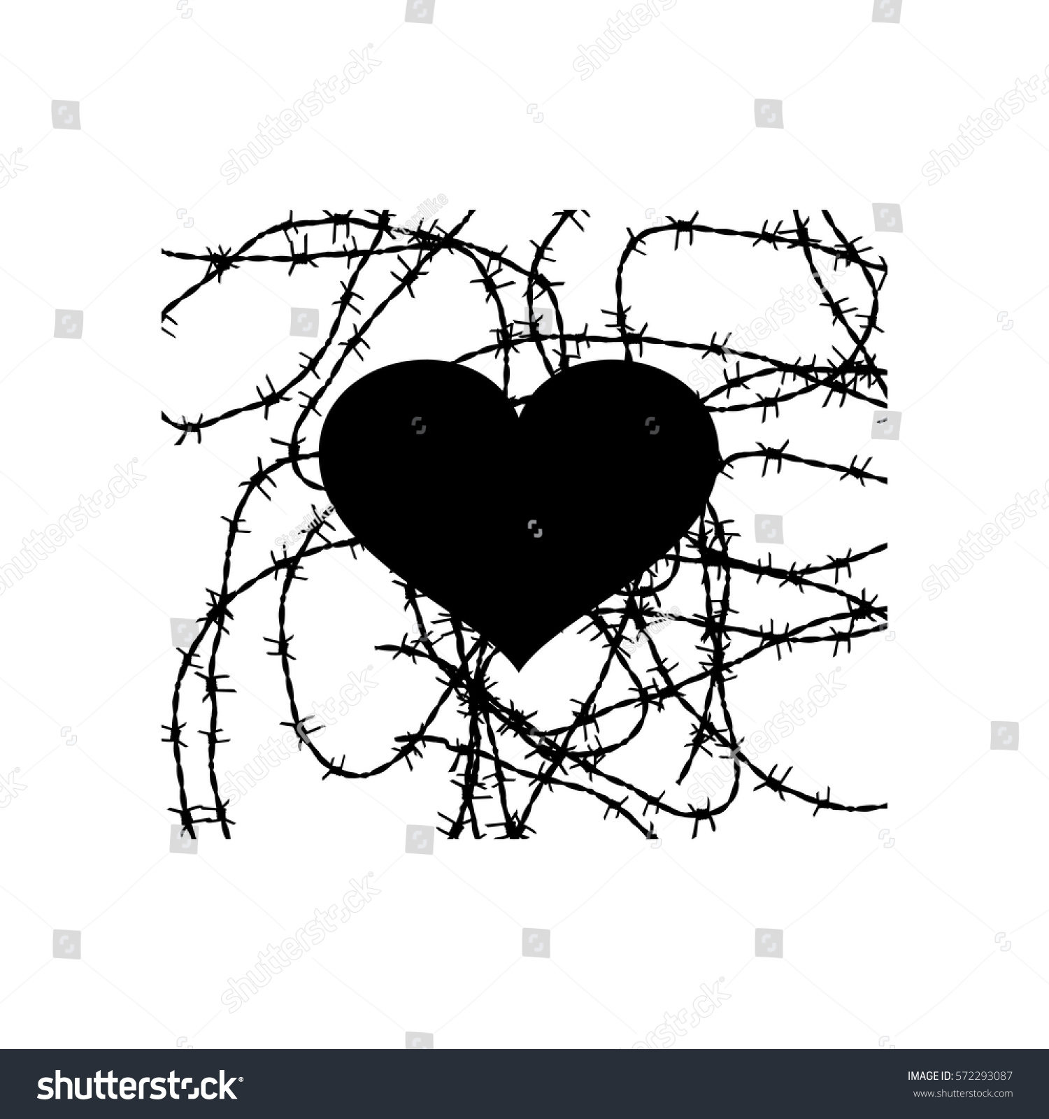 Black Heart Vector Tattoo Prison Barbed Stock Royalty Free Wiring Diagram Tattoos Wire Love