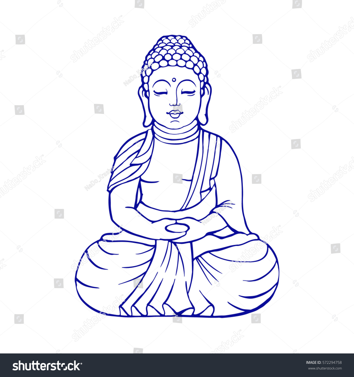 Hand drawn vector illustration of Sitting Buddha. | EZ Canvas