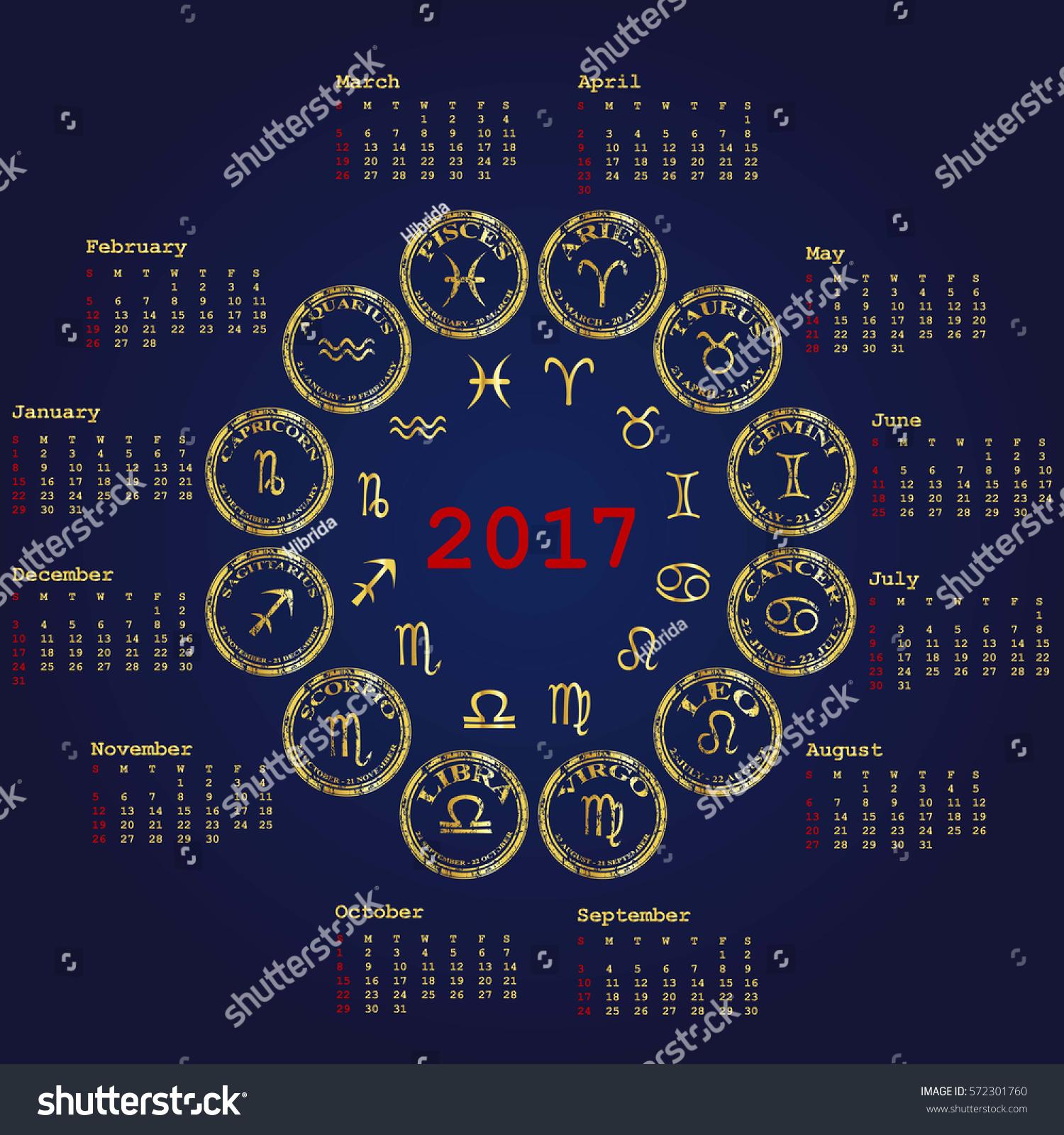 Calendar Design Zodiac : Calendar zodiac signs stock illustration