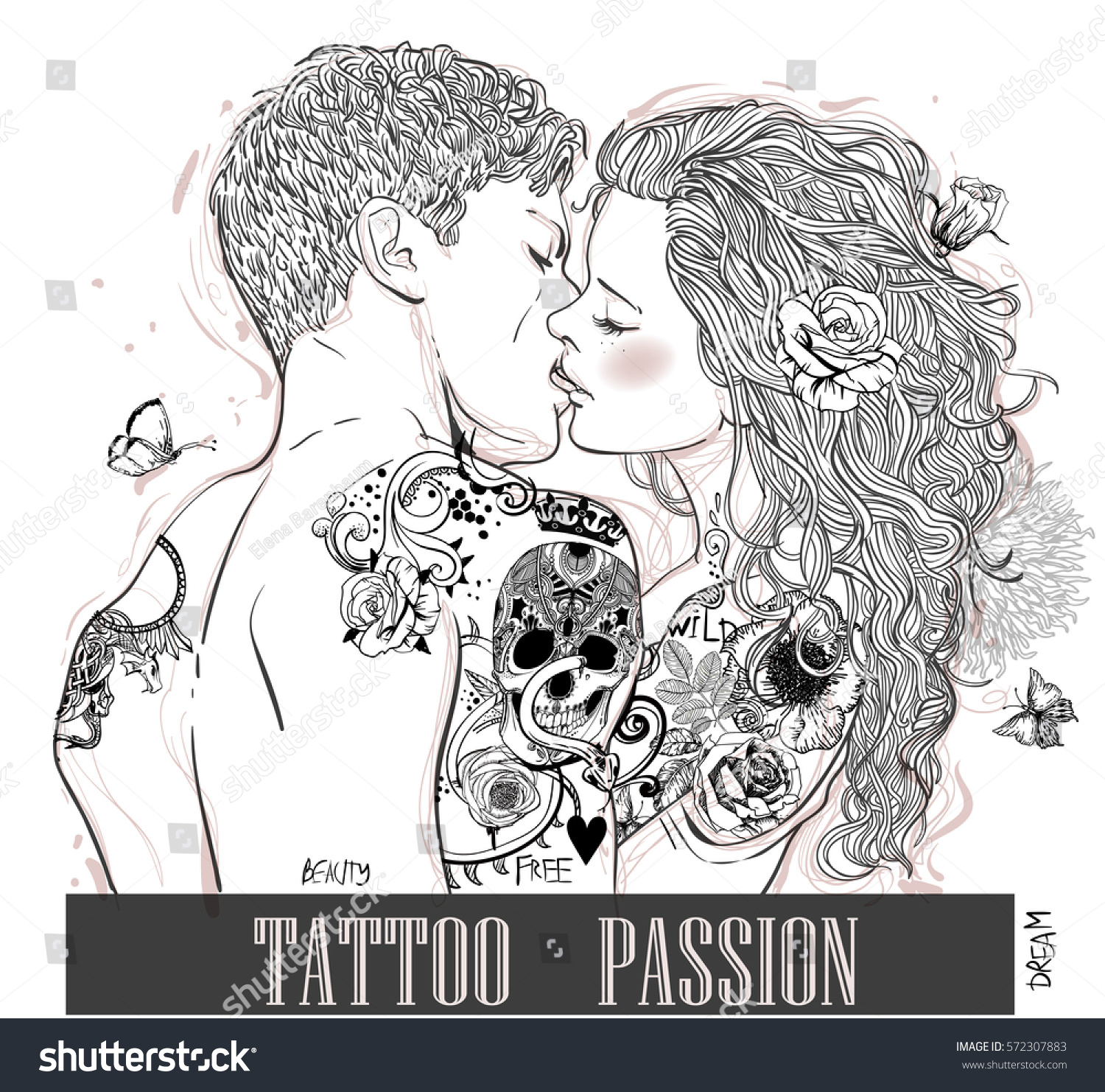 Portraits Kissing Woman Man Tattoo Stock Vector 572307883