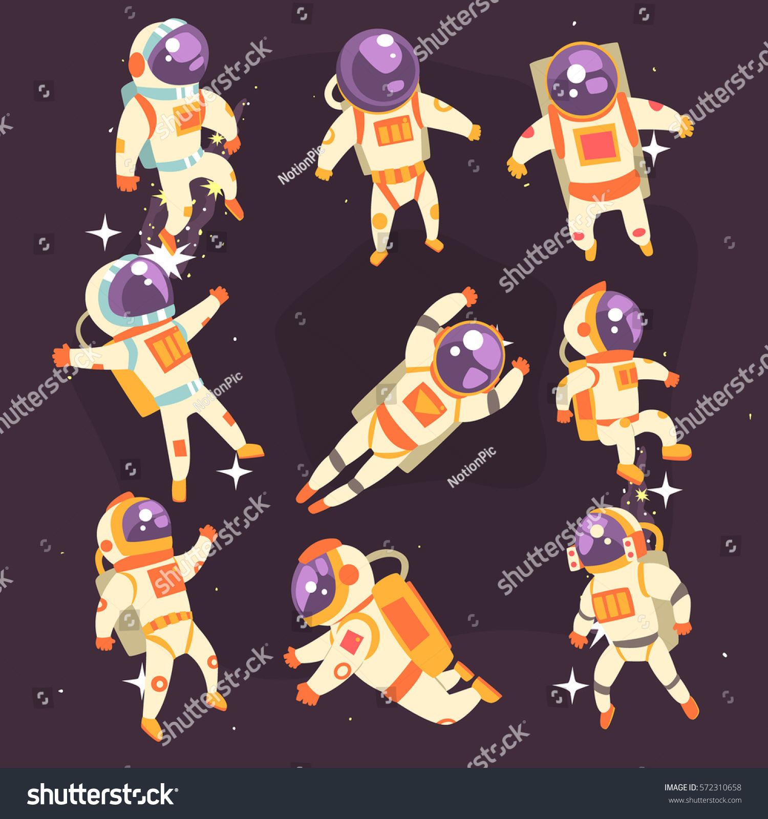 Astronaut Space Suit Floating Open Space Stock Vector ...