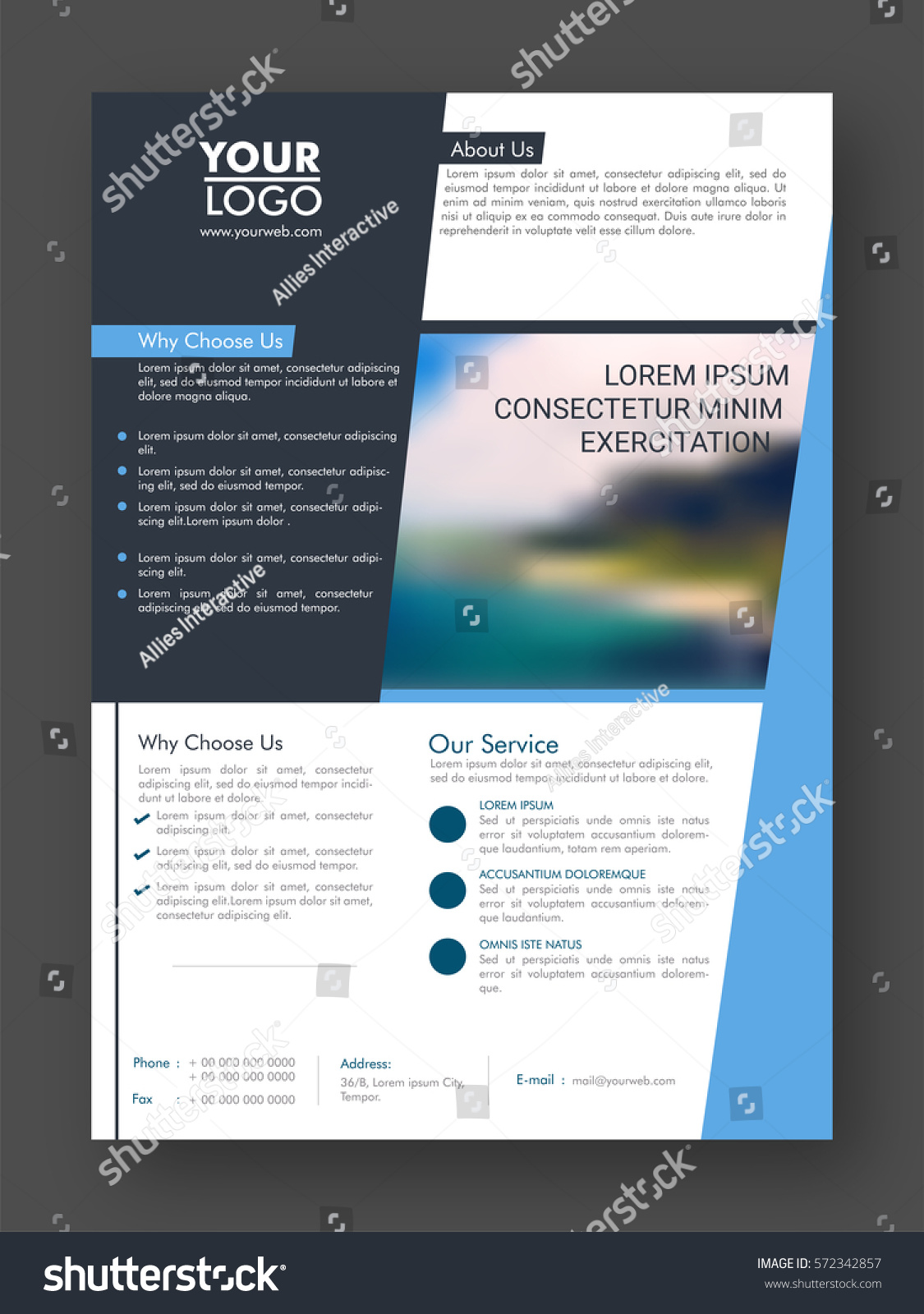 Professional one page business flyer banner stock vector royalty professional one page business flyer banner template or cover design wajeb Image collections