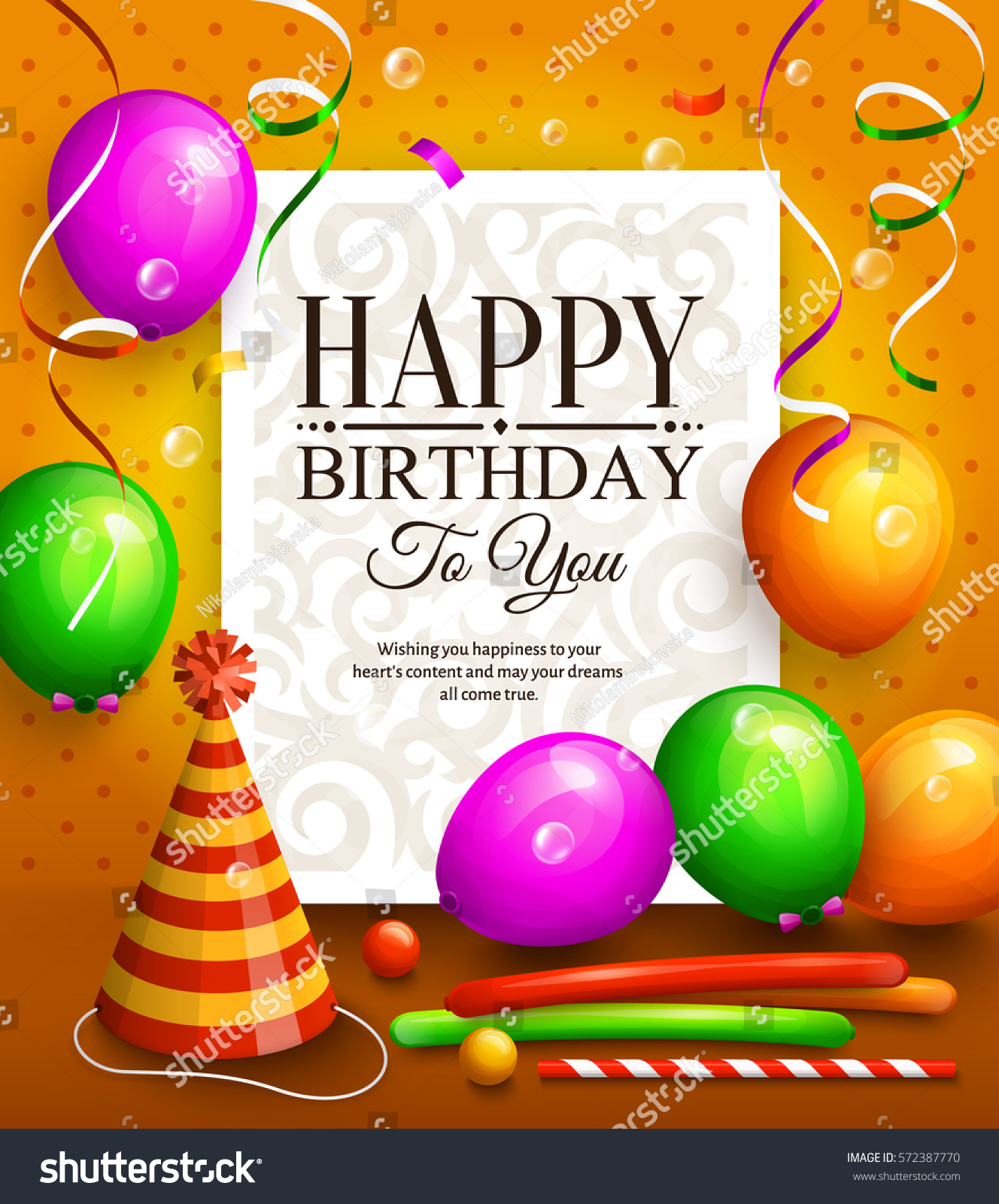 Happy Birthday Greeting Card Party Multicolored Vector – Happy Birthday Greetings Photos