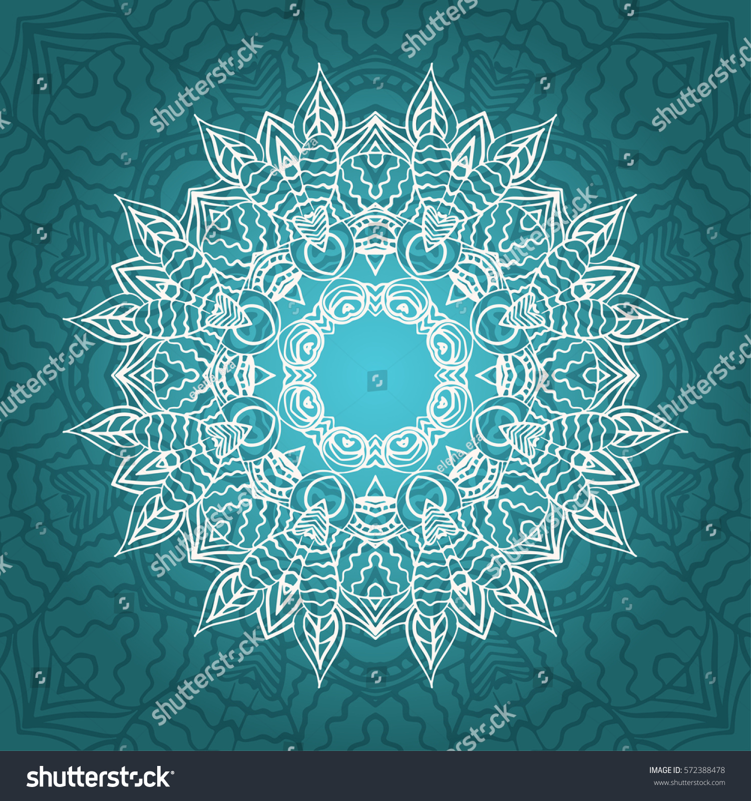 Mandala Card Turquoise Colors Backgrounds Invitations Stock Vector