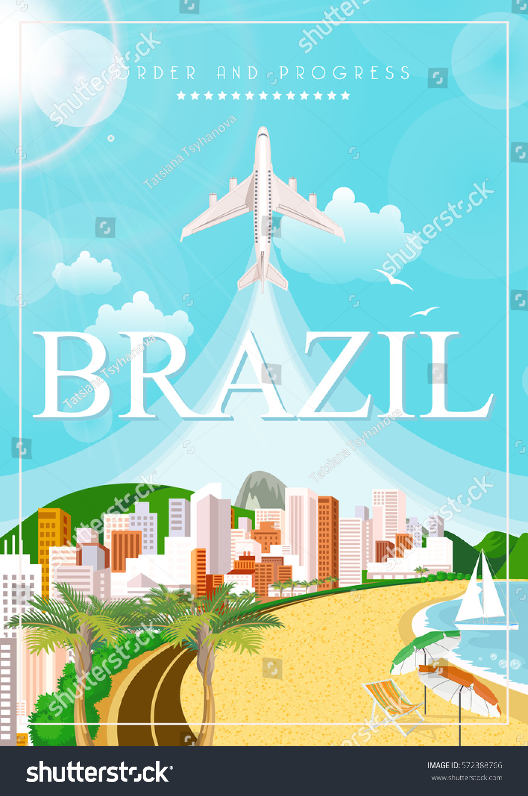 Poster design landscape - Vector Travel Poster Of Brazil With Colorful Modern Design Brazilian Landscape And Monuments