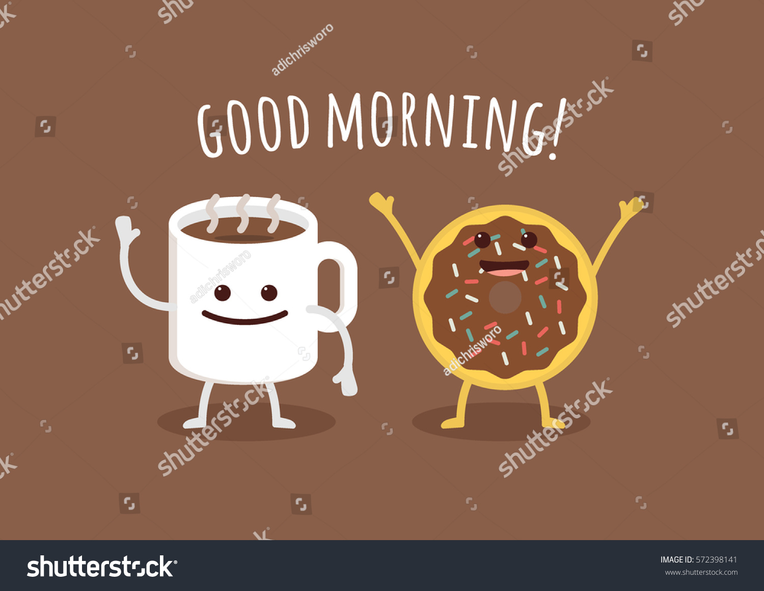 Good Morning Greeting Cup Coffee Donut Stock Vector Royalty Free