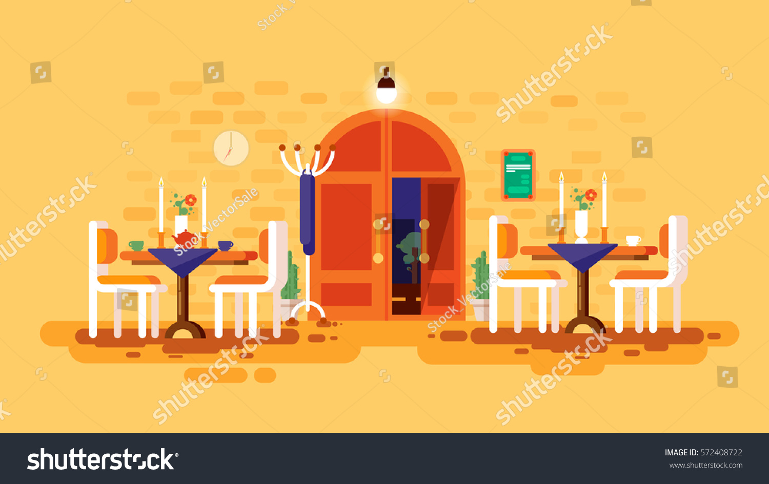 Stock Vector Illustration Interior Entrance Door Cafe Restaurant Lounge Dining Table Lunch Room Snack Bar