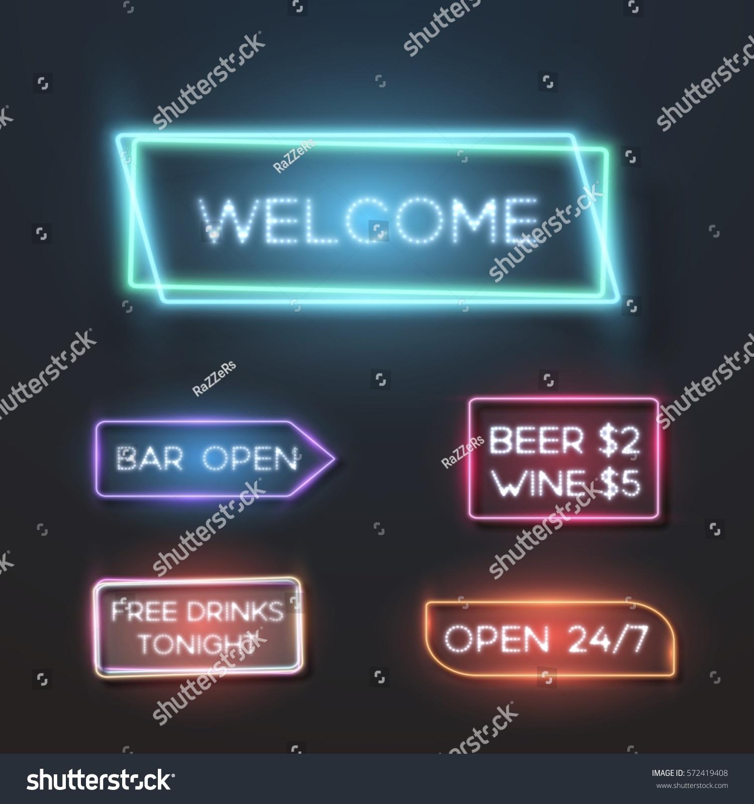 Illustration Big Set Vector Neon Sign Stock-Vektorgrafik 572419408 ...
