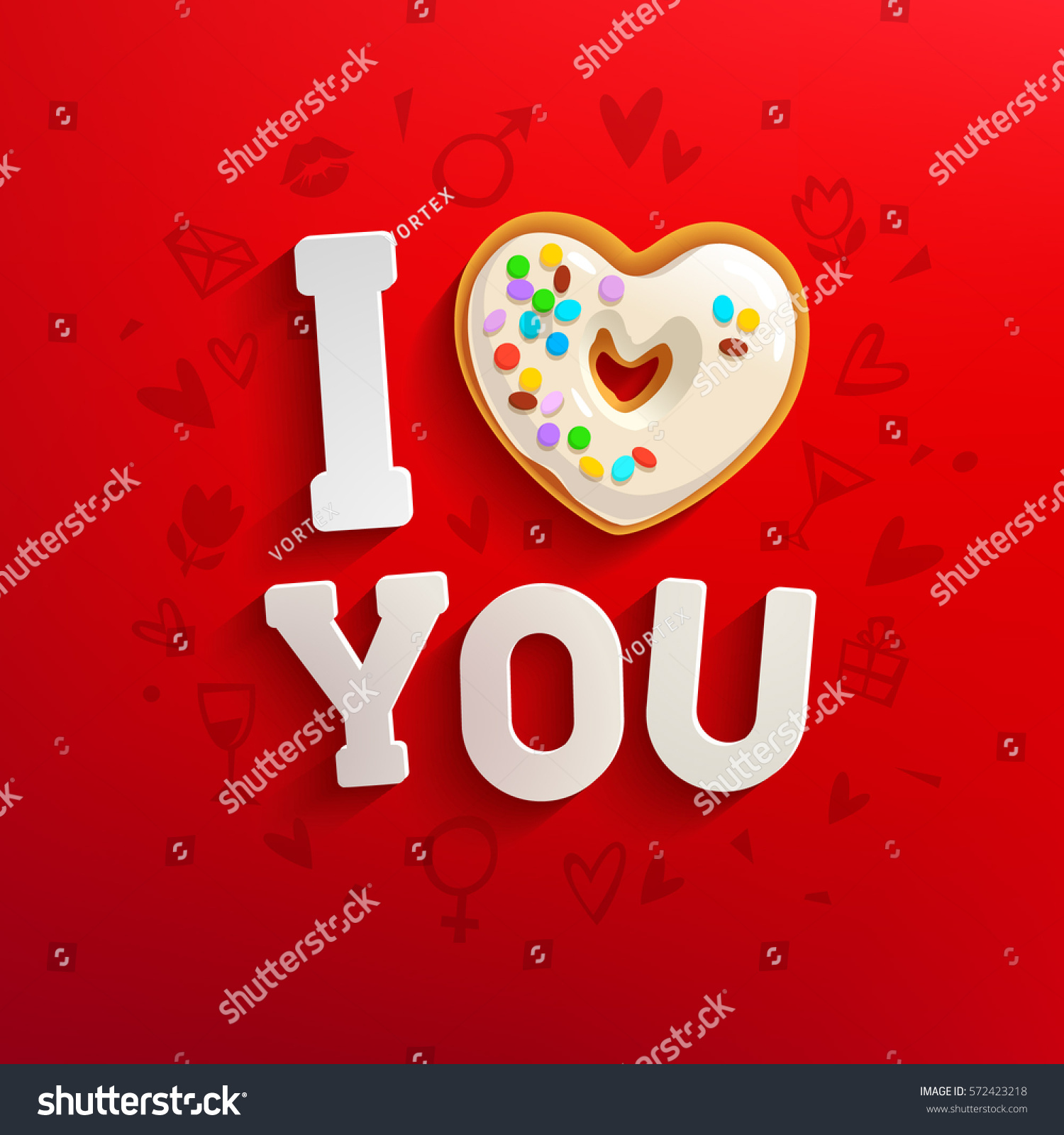 concept of creative valentine card love you inscription with white heart shaped donut on red romantic