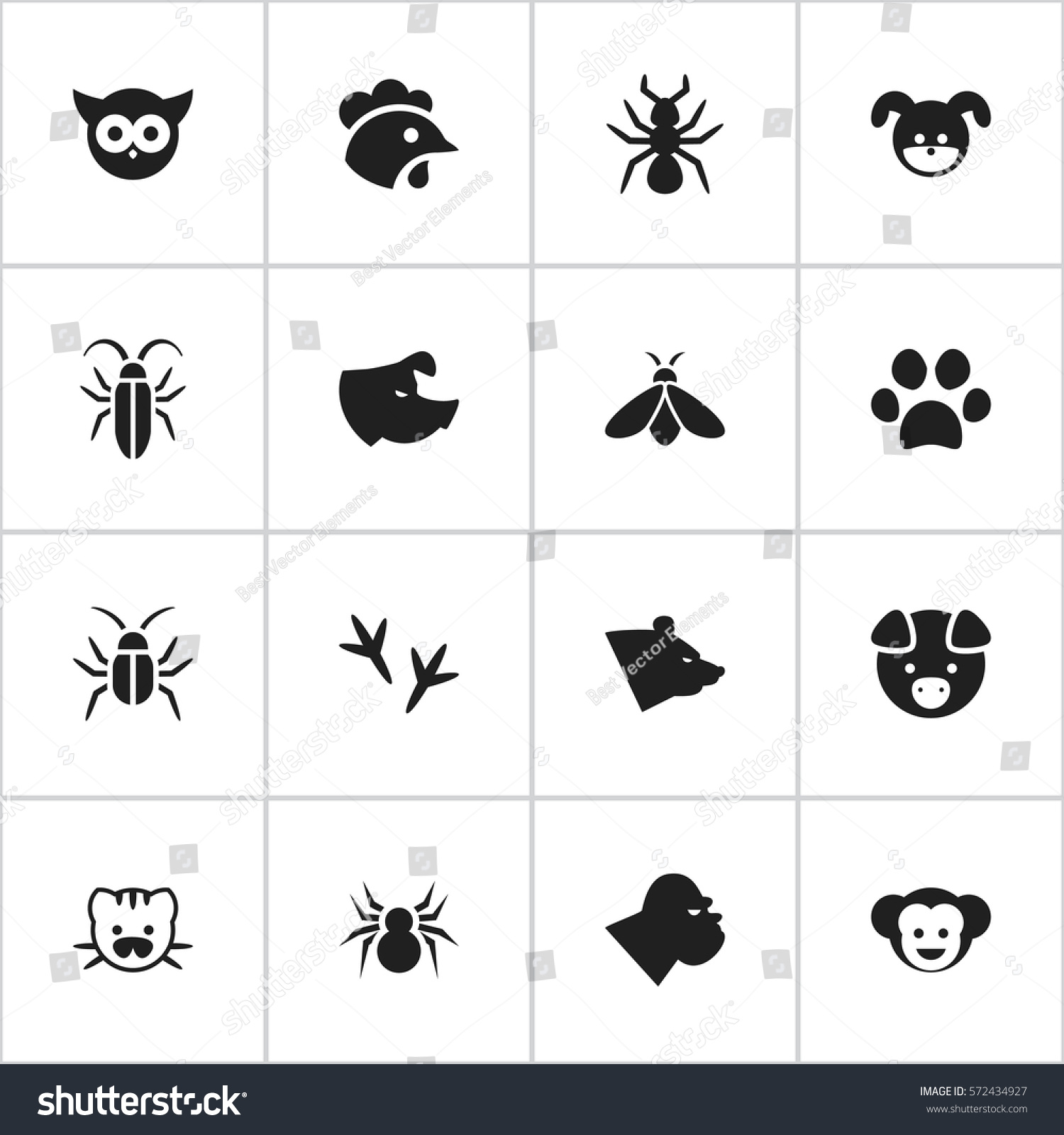 Set 16 editable zoology icons includes stock illustration includes symbols such as beast hog rooster biocorpaavc