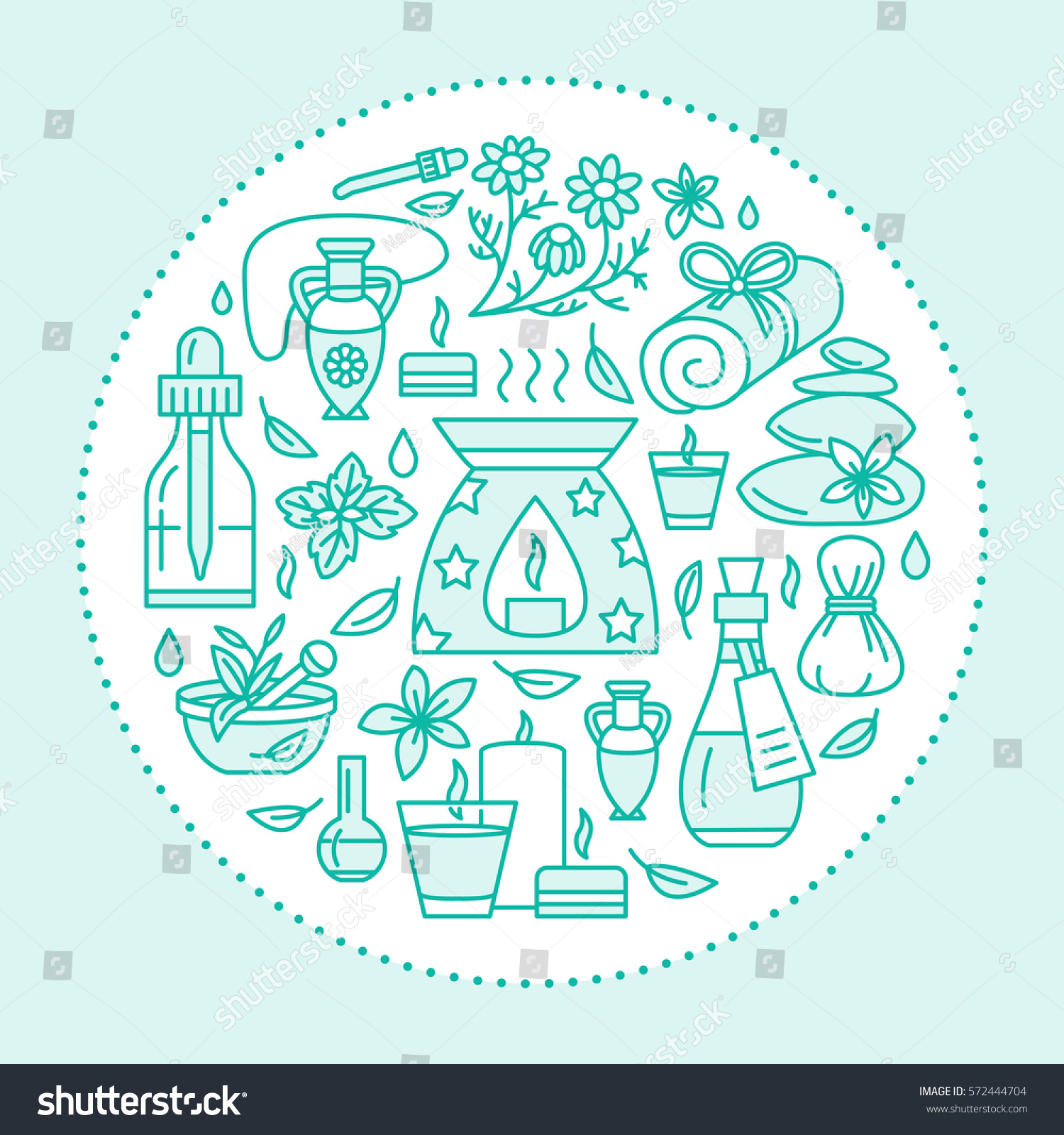 Aromatherapy Essential Oils Brochure Template Circle Stock Vector - Massage therapy brochure templates