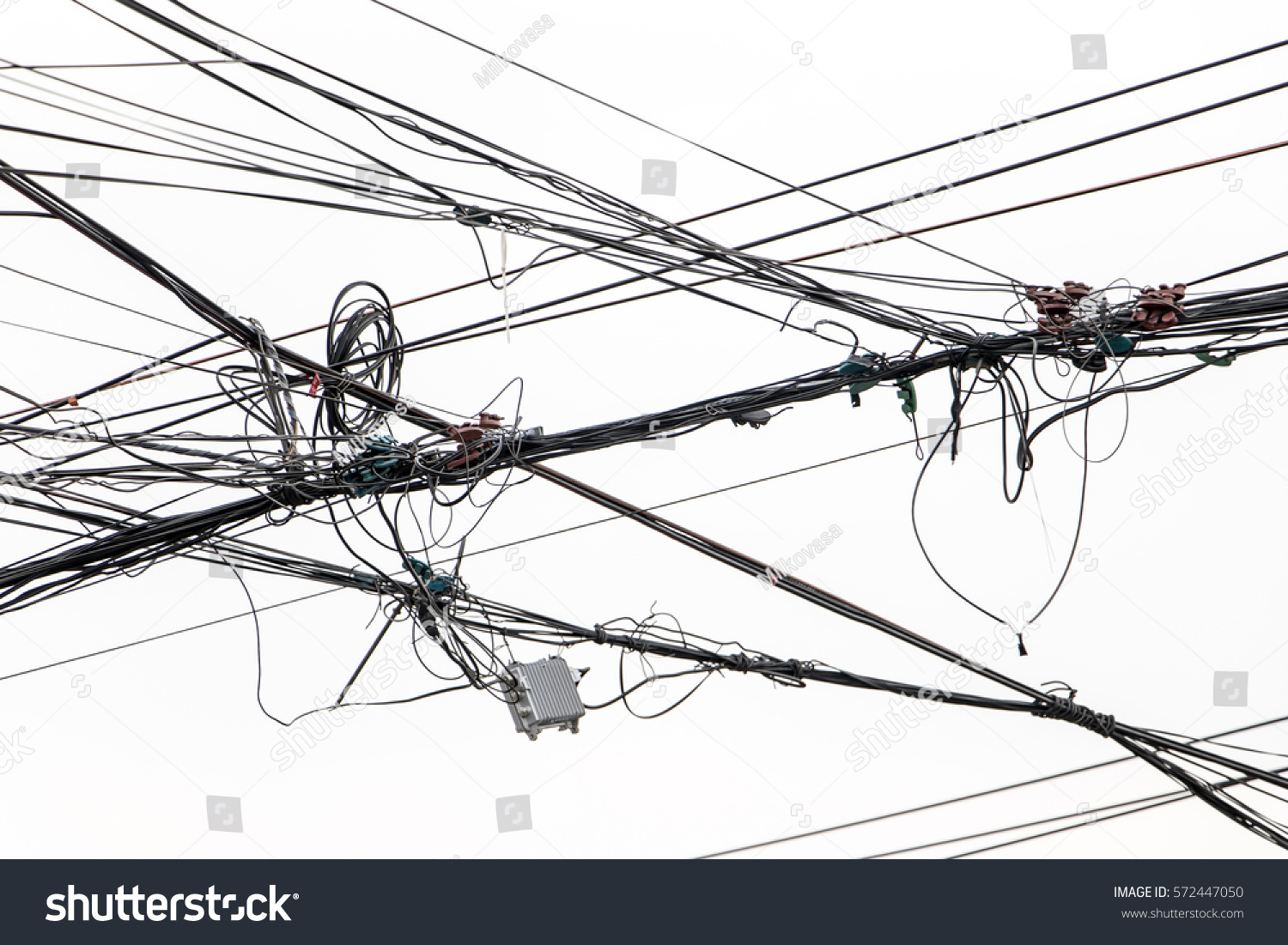 Electrical Wires On White Background Electric Stock Photo (Royalty ...