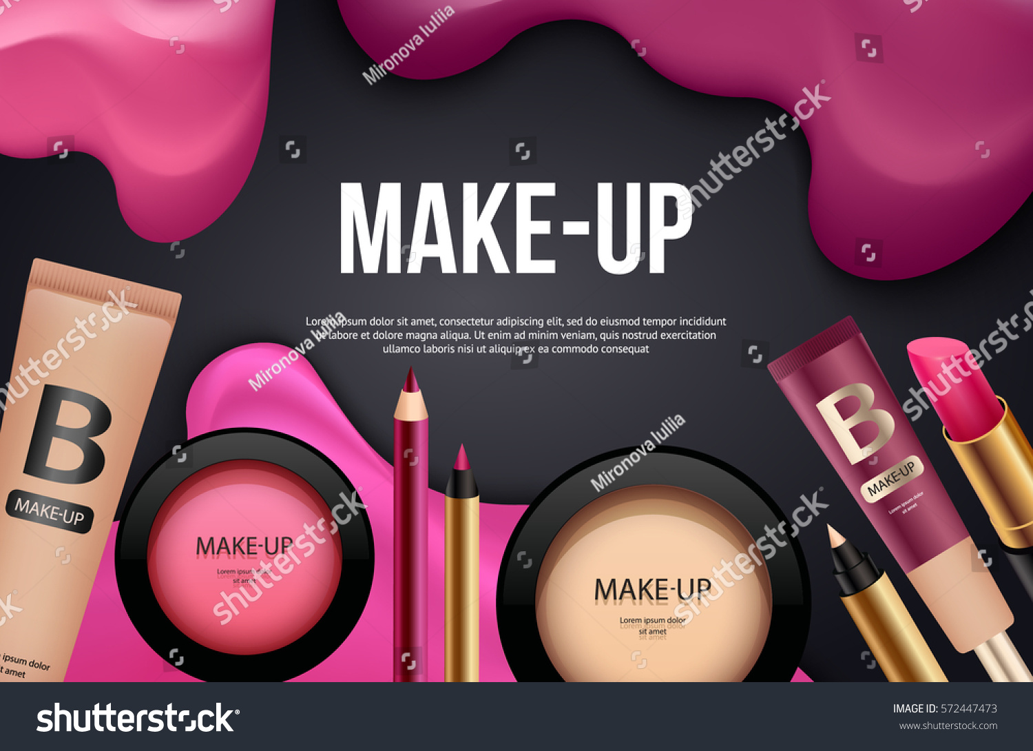Makeup Banner Card Template Cosmetic Background Stock Vector Royalty Free 572447473