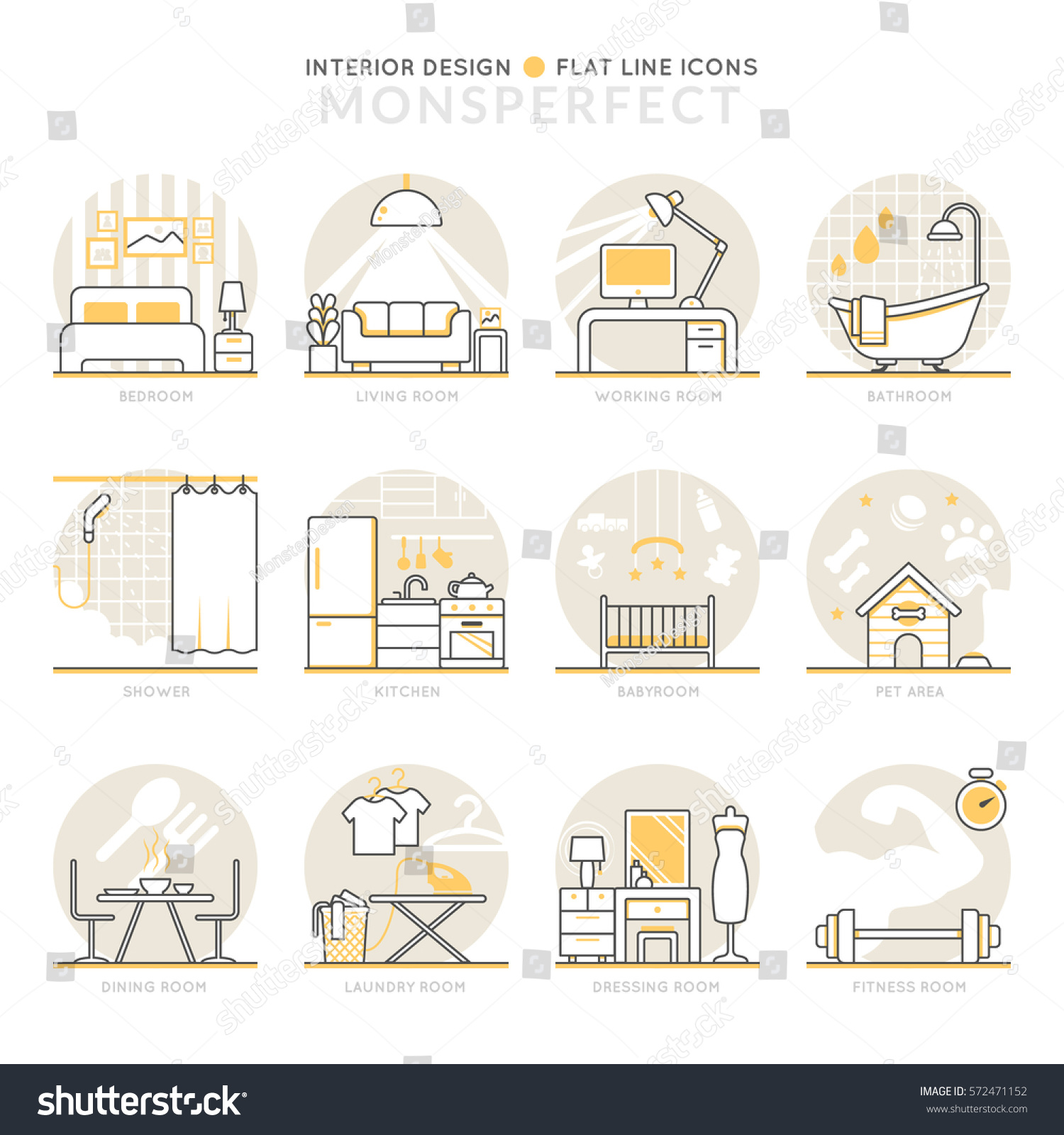 Infographic Icons Elements About Interior Design Flat Thin Line Set Pictogram For Website And