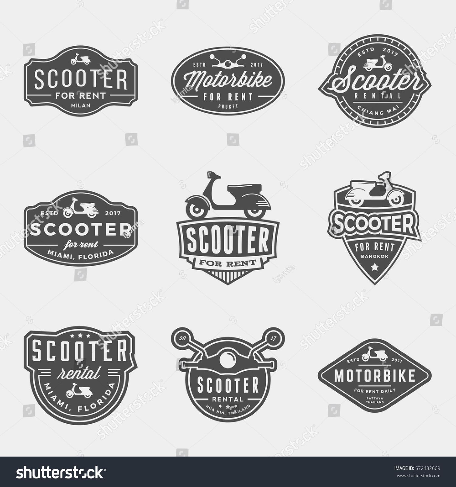 Vector Set Scooter Rental Logos Emblems Stock Vector