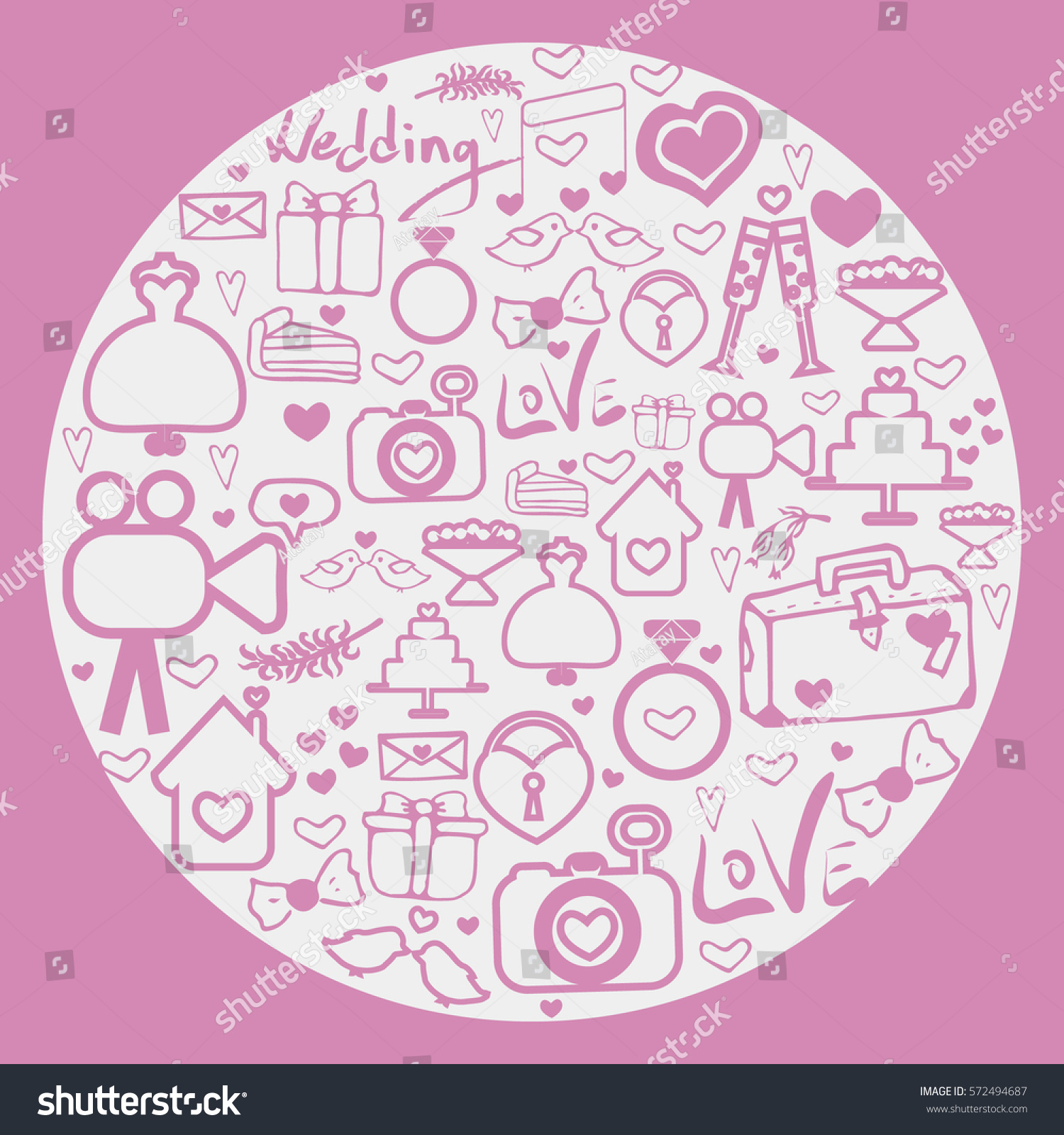 Vector Round Card Doodles On Theme Stock Vector 572494687 - Shutterstock