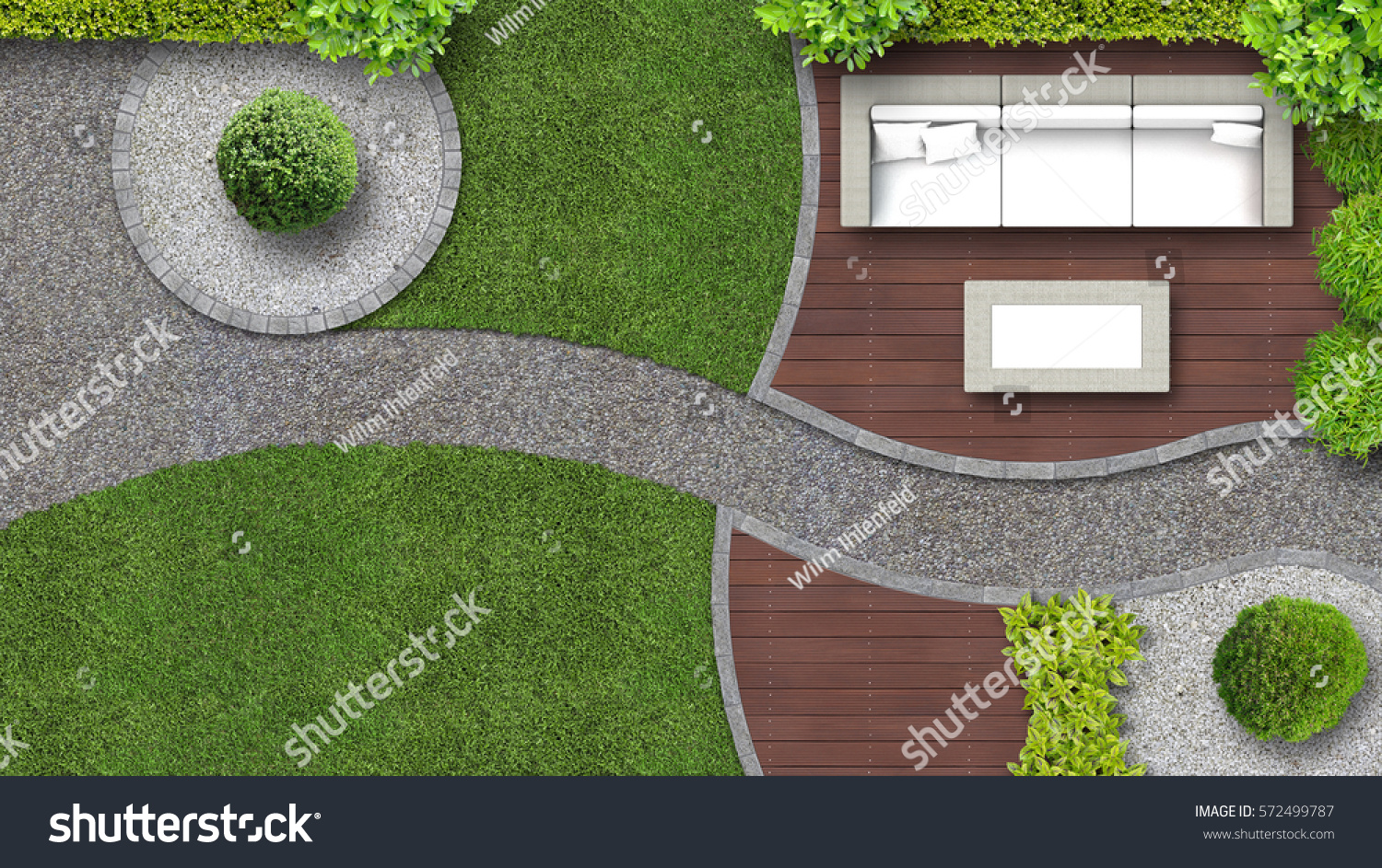 garden design in top view including garden furniture - Garden Furniture Top View