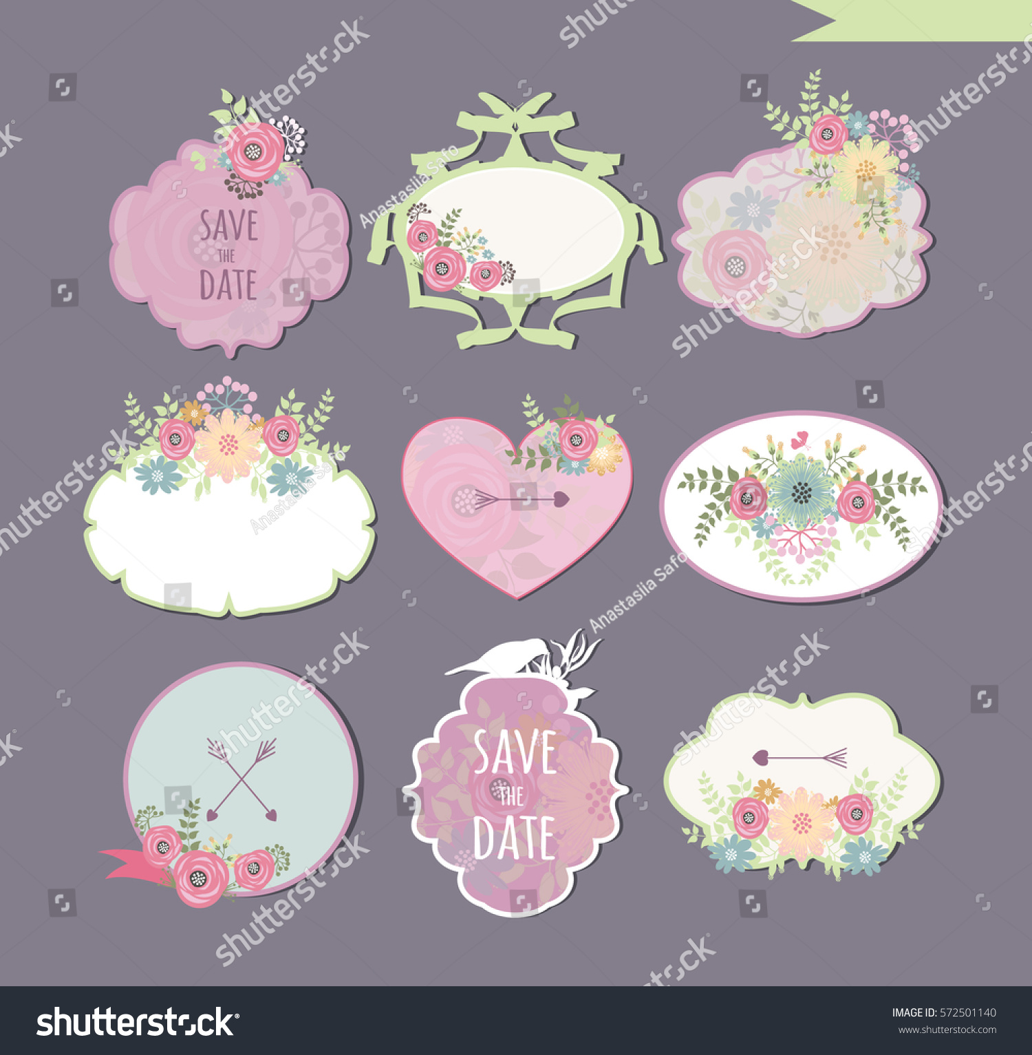 flower stickers scrapbooking can be used stock vector (royalty free