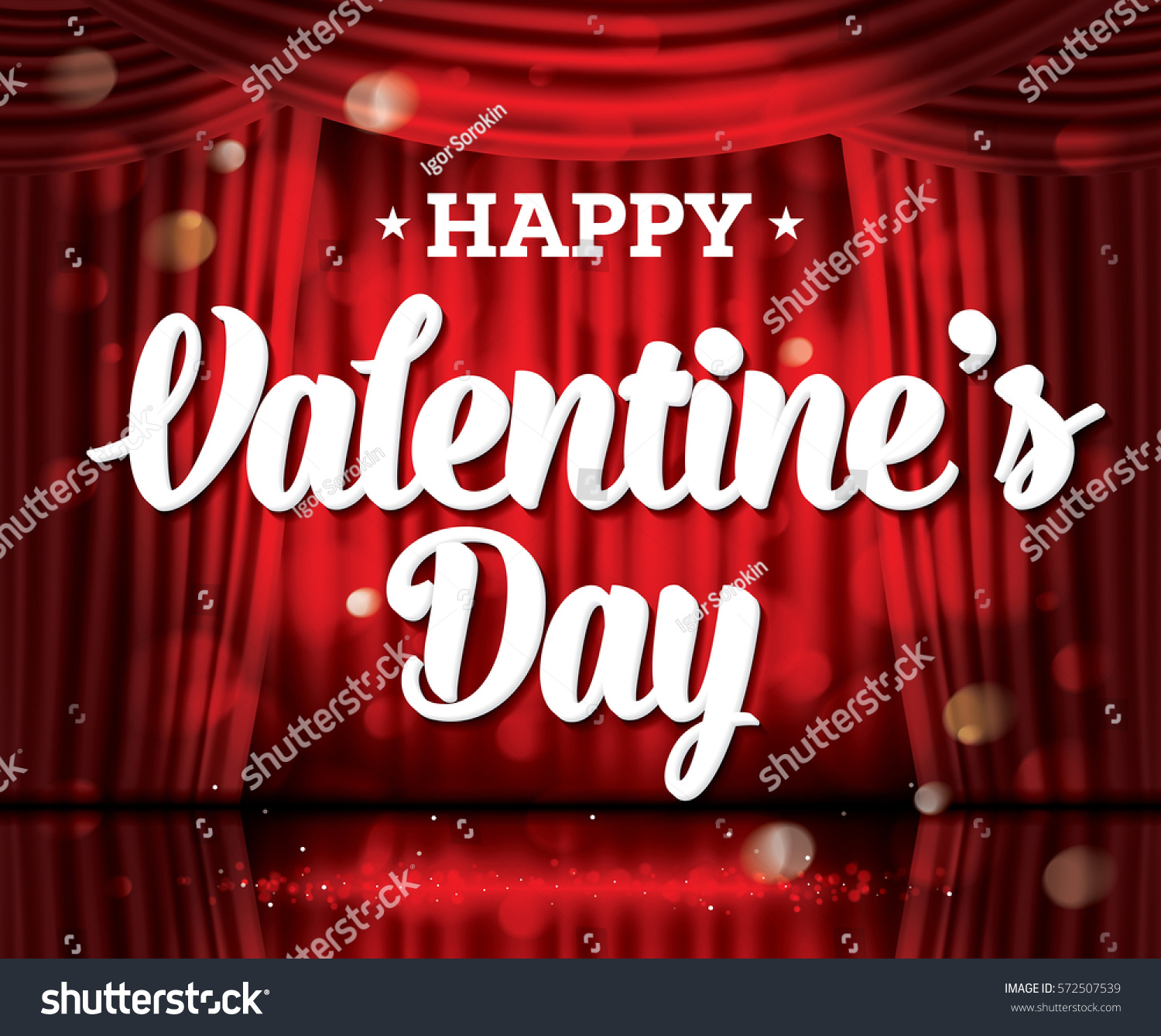 Happy Valentineu0027s Day. Open Red Curtains With Neon Lights And Copy Space.  Vector Illustration