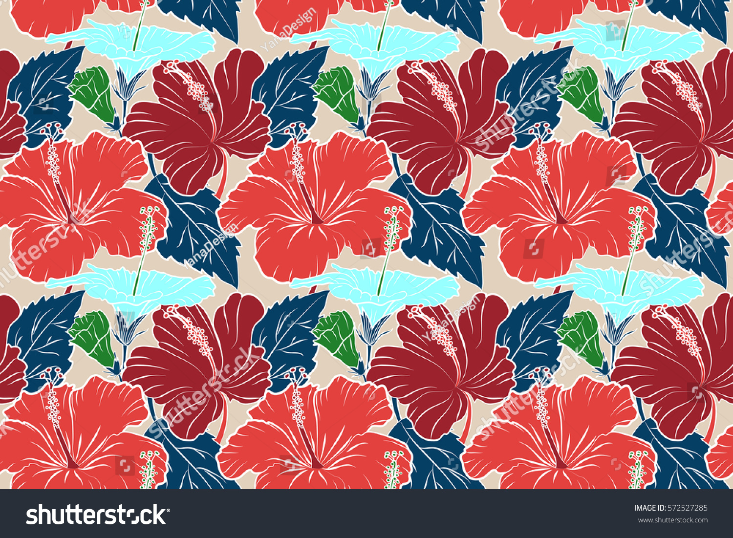 Hibiscus vector pattern on a white background seamless tropical hibiscus vector pattern on a white background seamless tropical flowers in pink and red colors ez canvas izmirmasajfo