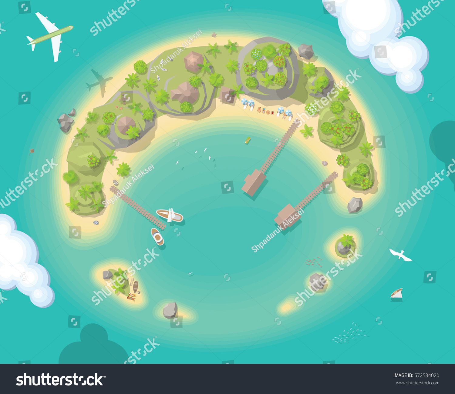 Vector Illustration Island Top View Summer Stock Vector ... Island Top View Vector