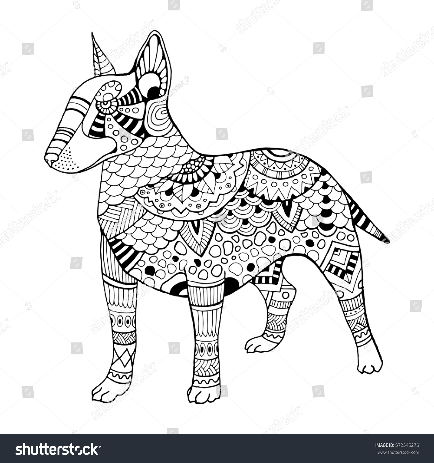 Bullterrier Dog Coloring Book Raster Illustration Stock Illustration ...