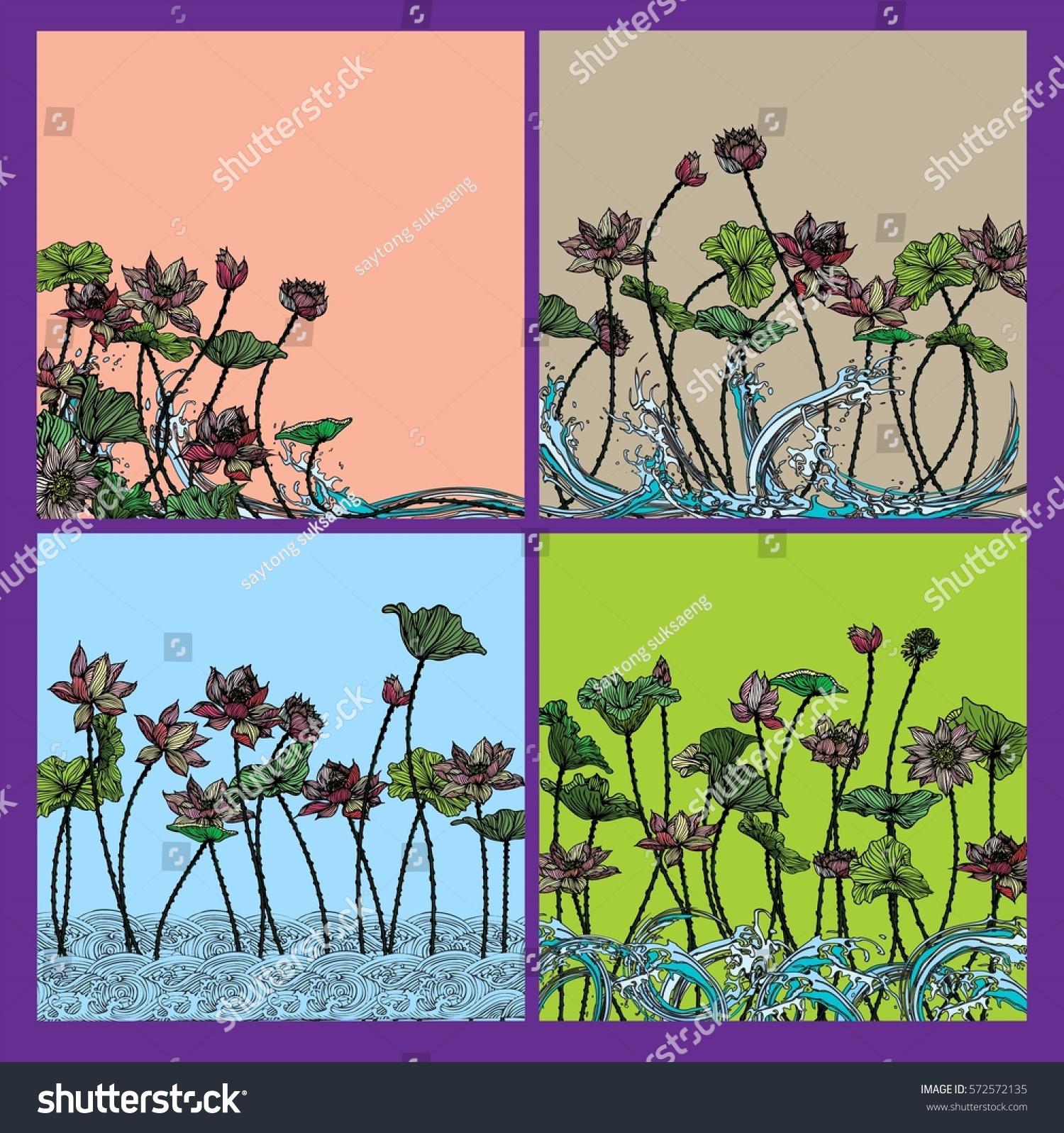 set vector t voucher template lotus stock vector
