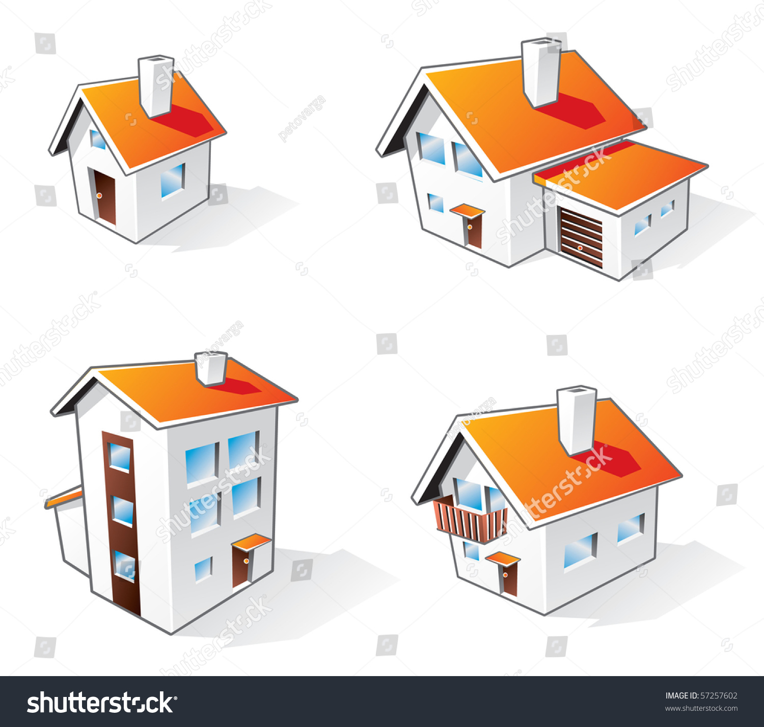 Four different houses vector icons illustration in cartoon for Names of different style homes