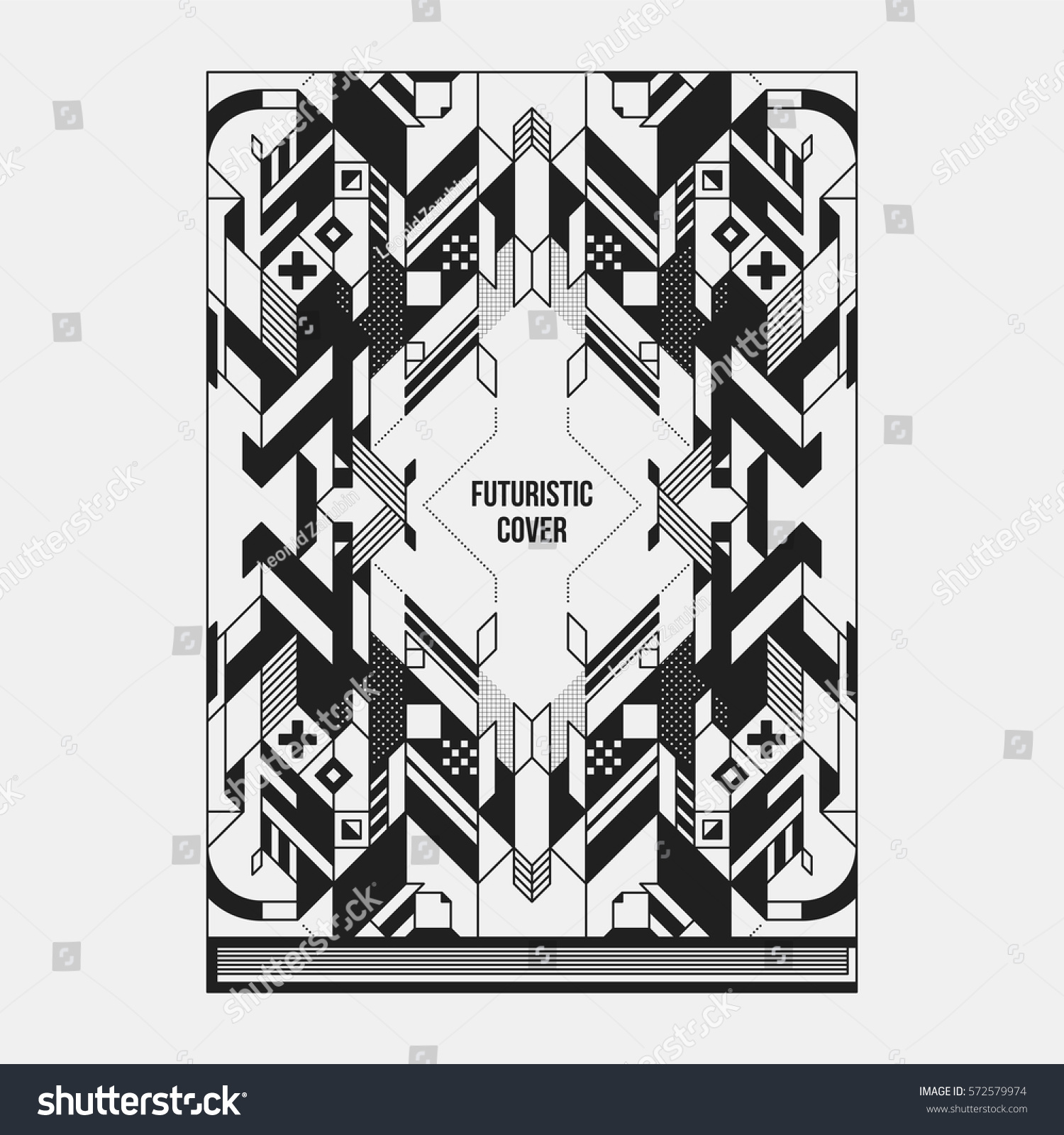 Bookpostermagazine Cover Design Template Abstract Symmetric Stock ...