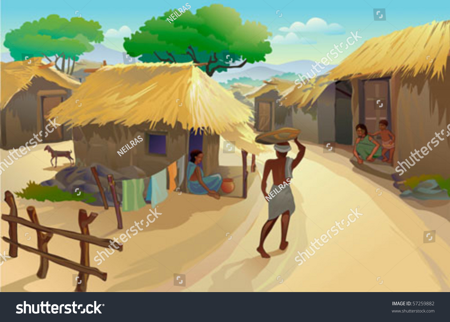 indian village life dwellers hut man stock vector 57259882 tree house clip art transparent tree house clip art image