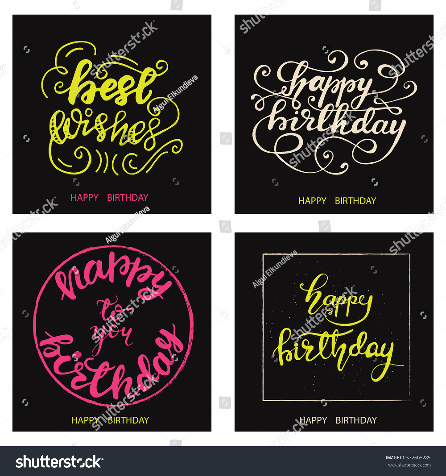 Set Funky Birthday Cards Hand Drawn Stock Vector