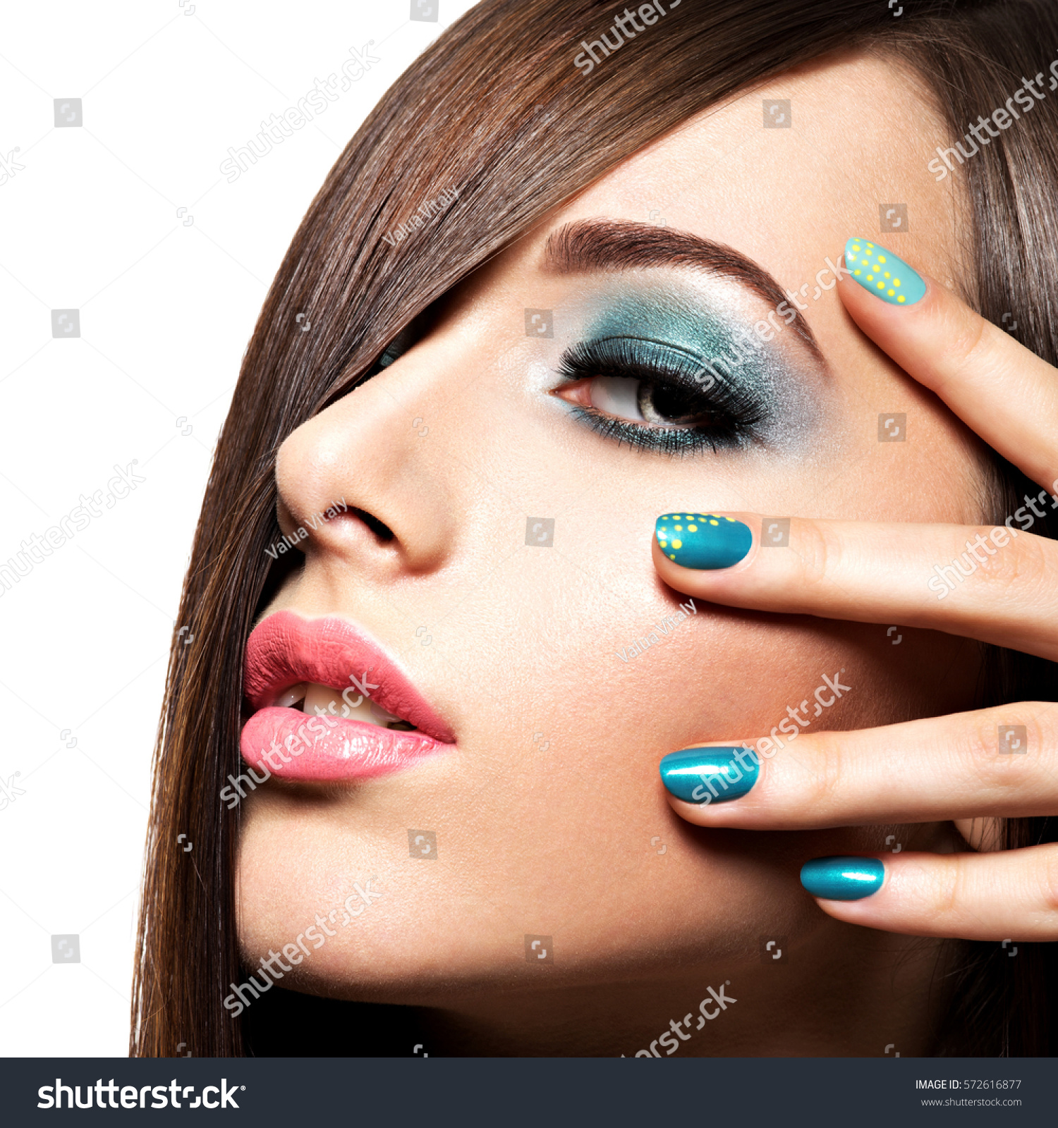 Beautiful Fashion Woman Turquoise Makeup Nails Stock Photo (Royalty ...