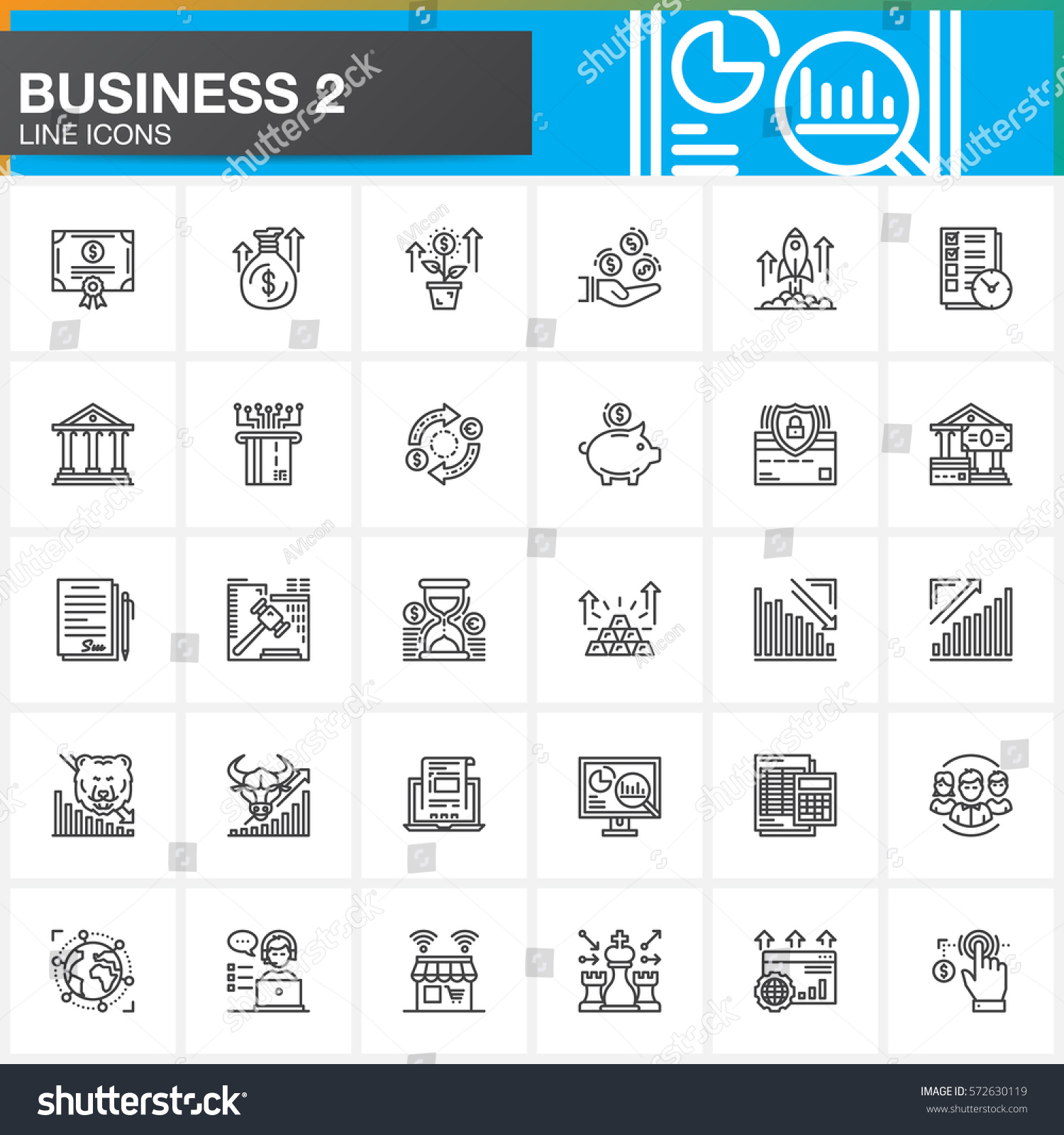 Business Finance: Business Finance Money Payments Line Icons Stock Vector