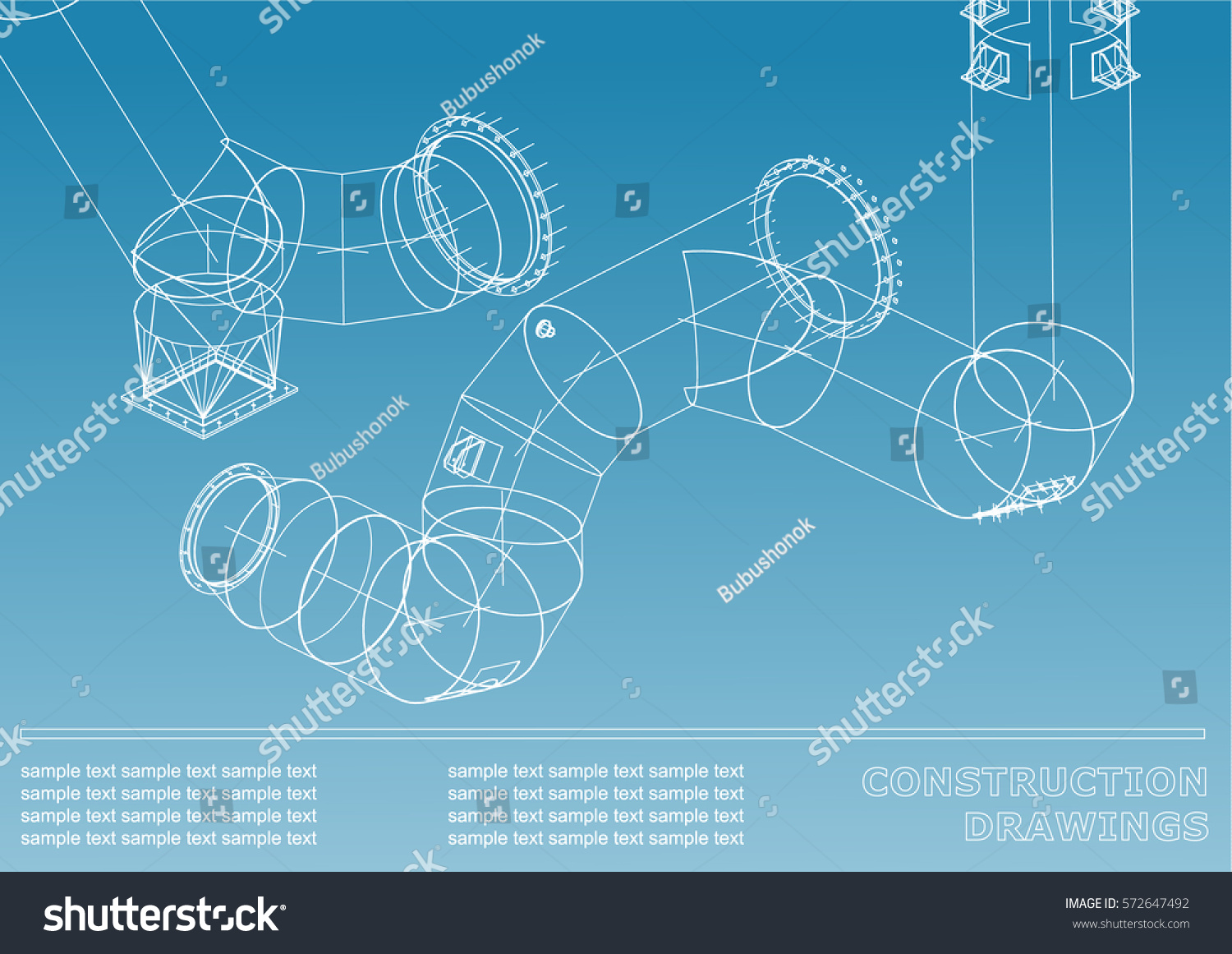 Drawings Steel Structures Pipes Pipe 3 D Stock Vector (Royalty Free ...