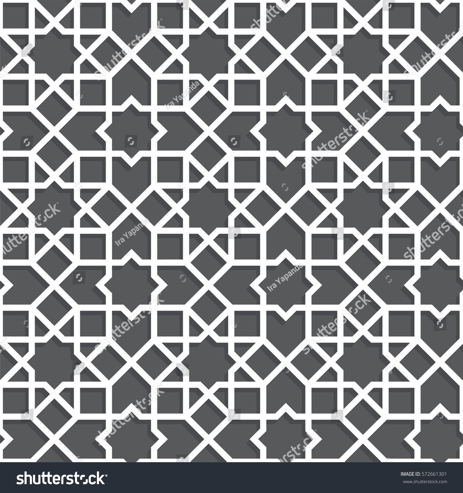 Islamic Black White Pattern Seamless Vector Stock Vector ...