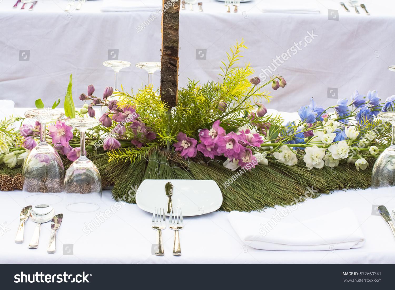 Beautiful Flower Arrangement On Dinner Table Stock Photo (Edit Now ...