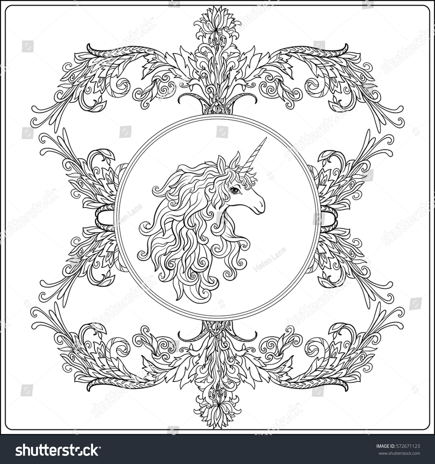 Unicorn Frame Arabesque Royal Medieval Style Stock Vector 572671123 ...