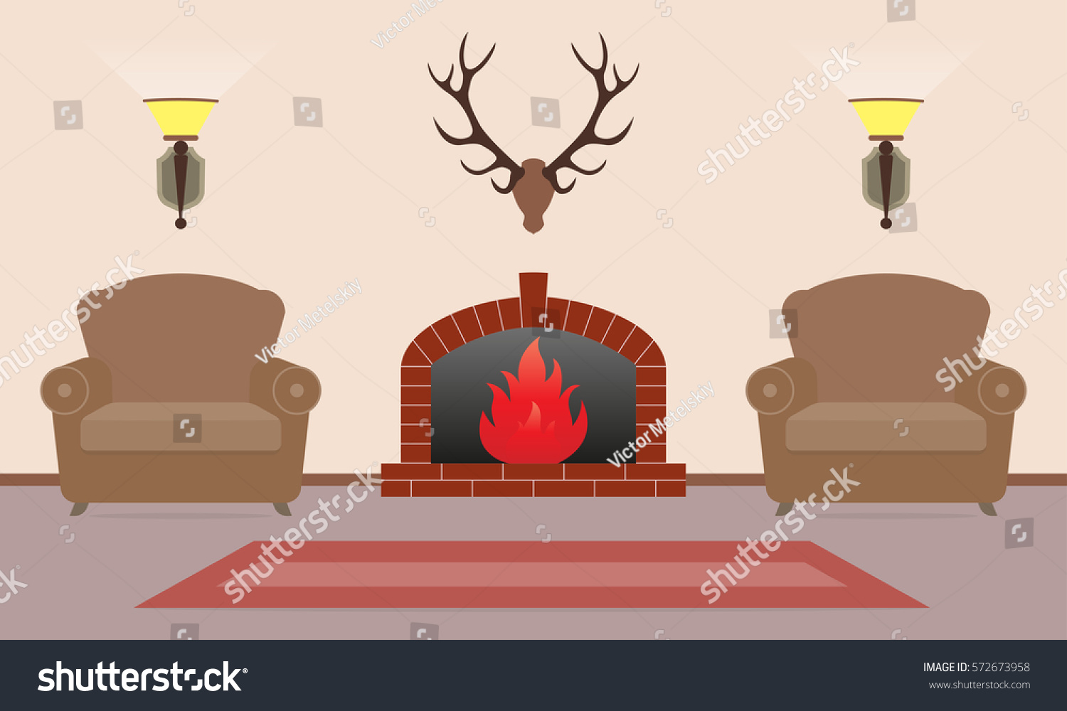 living room interior fireplace armchairs deer stock vector