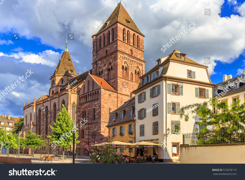 one biggest churches strasbourg st thomas stock photo 572678119 shutterstock. Black Bedroom Furniture Sets. Home Design Ideas