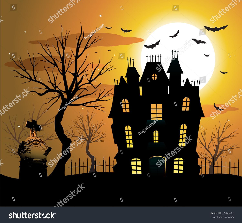 Haunted House Halloween Background Stock Vector 57268447 ...