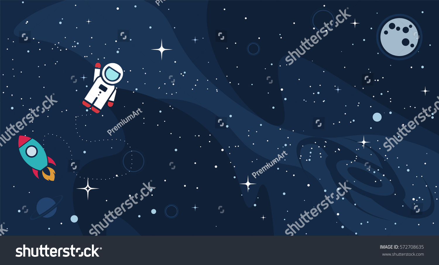 Vector flat space design background text stock vector for Outer space planning and design