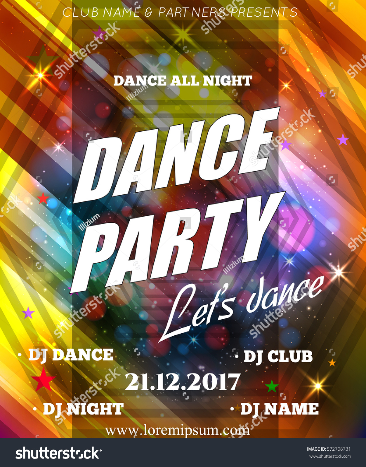 Night Dance Party Poster Background Template Stock Vector 572708731 ...