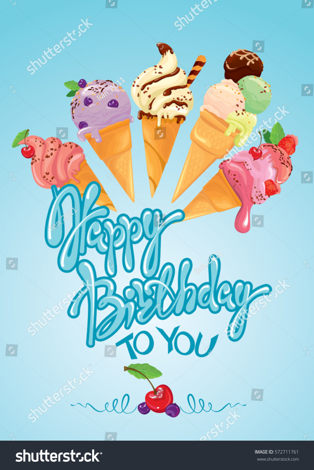 Greeting Card Ice Cream Cones On Stock Vector Royalty Free