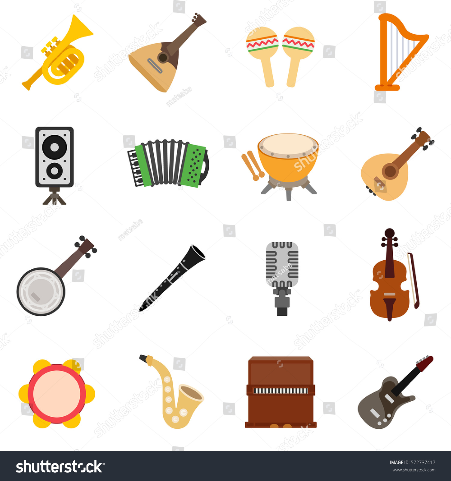 Musical Instruments Icons Set Isolated Symbols Stock Vector